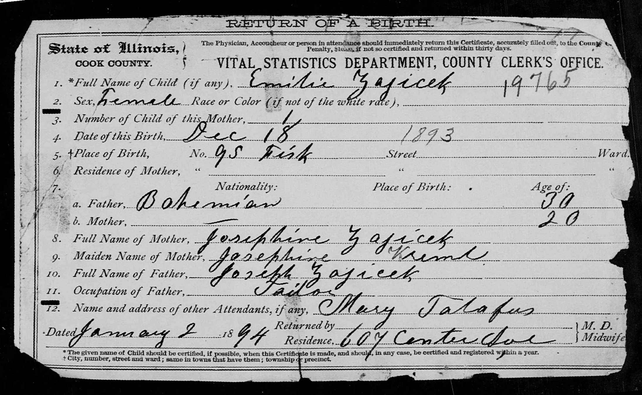 Documents Birth Certificate For Emily Zajicek 1893 Riemer And