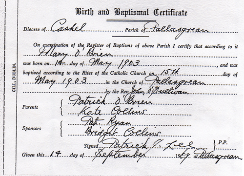 Mary OBRIEN Baptismal Certificate